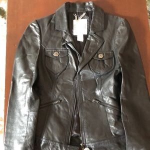 Black leather BB Dakota jacket, Size S